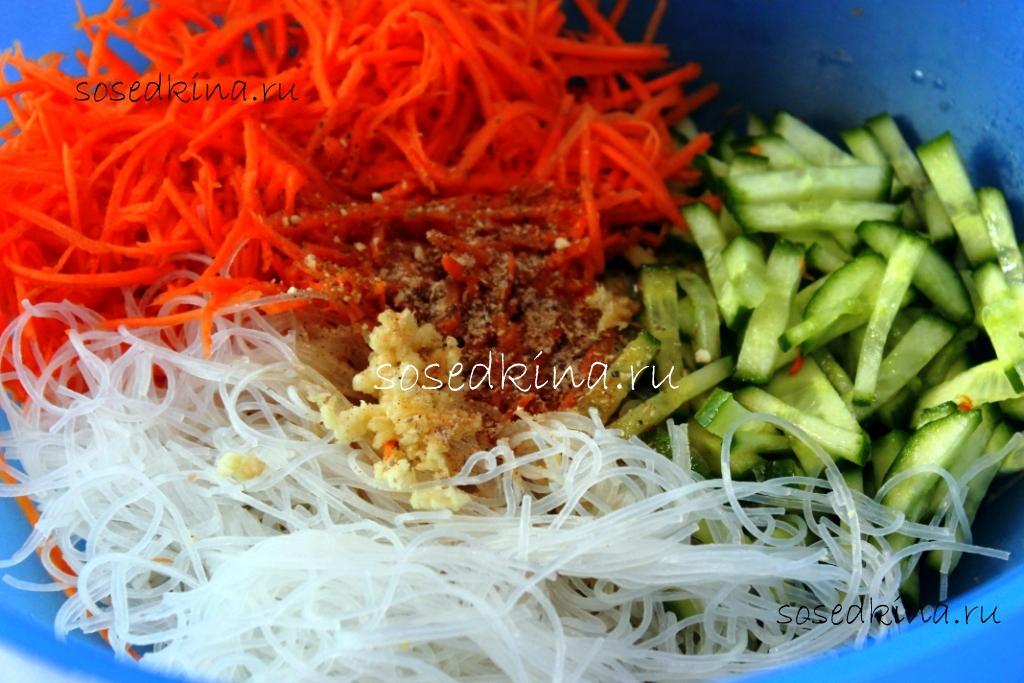 Острый салат с фунчозой рецепты с