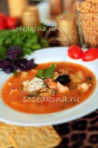 Томатный куриный суп с маслинами, каперсамии и пастой (12)22